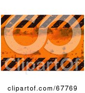 Royalty Free RF Clipart Illustration Of A Grungy Orange And Black Hazard Stripe Background