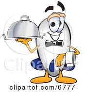 Clipart Picture Of A Blimp Mascot Cartoon Character Holding A Serving Platter by Toons4Biz