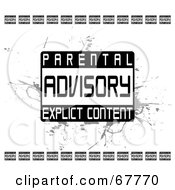 Royalty Free RF Clipart Illustration Of A Black And White Grunge Parental Advisory Explicit Content Background by Arena Creative