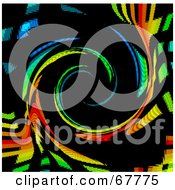 Royalty Free RF Clipart Illustration Of A Rainbow Colored Swirl On Black