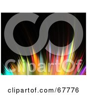 Royalty Free RF Clipart Illustration Of A Horizontal Spikey Rainbow Colored Fractal On Black