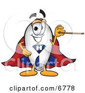 Clipart Picture Of A Blimp Mascot Cartoon Character Holding A Pointer Stick by Toons4Biz