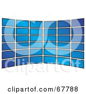 Royalty Free RF Clipart Illustration Of A Wall Of Blue Tv Screens Curving On White by Arena Creative