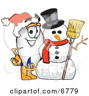 Clipart Picture Of A Blimp Mascot Cartoon Character With A Snowman by Toons4Biz