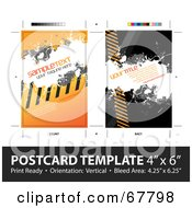 Warning Stripes Postcard Template With Sample Text