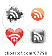 Royalty Free RF Clipart Illustration Of A Digital Collage Of Rss Icon Buttons In Different Shapes by Arena Creative
