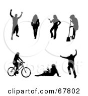Royalty Free RF Clipart Illustration Of A Digital Collage Of Black Victorious Walking Posing Sweeping Cycling Reading And Jumping People Silhouettes by Arena Creative