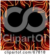 Royalty Free RF Clipart Illustration Of A Fiery Orange Border Around Black