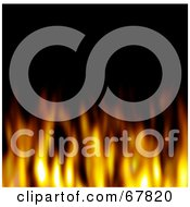 Royalty Free RF Clipart Illustration Of A Black Background With Blurry Flames