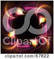 Royalty Free RF Clipart Illustration Of A Pink And Orange Fractal Circle On Black