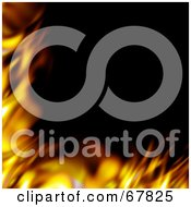 Royalty Free RF Clipart Illustration Of A Smooth Fiery Corner Border On Black