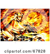 Royalty Free RF Clipart Illustration Of A Fiery Biker Chick On A Motorcycle