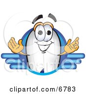 Clipart Picture Of A Blimp Mascot Cartoon Character Logo by Toons4Biz