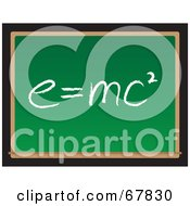 Royalty Free RF Clipart Illustration Of A Green Chalkboard With EMc2 Written In Chalk