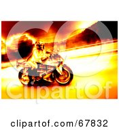 Royalty Free RF Clipart Illustration Of A Biker Chick Speeding In Fiery Colors