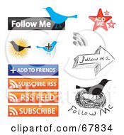 Royalty Free RF Clipart Illustration Of A Digital Collage Of Follow Me Add Ot Friends Subscribe Rss Rss Feed And Subscribe Buttons by Arena Creative