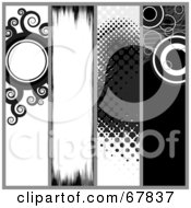 Royalty Free RF Clipart Illustration Of A Digital Collage Of Black And White Grunge Website Banners by Arena Creative