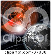 Royalty Free RF Clipart Illustration Of A Dead Earth With Fractals And Radar On Black by Arena Creative