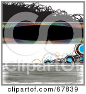 Royalty Free RF Clipart Illustration Of A Digital Collage Of Scribble Rainbow Circle And Grunge Website Banners by Arena Creative