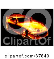 Royalty Free RF Clipart Illustration Of A Fiery Sports Car On Black by Arena Creative