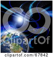 Royalty Free RF Clipart Illustration Of A Blue Fractal Binary And Flare Earth Background On Black by Arena Creative