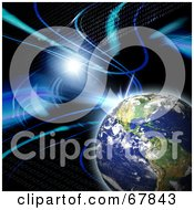 Royalty Free RF Clipart Illustration Of A Flare With Binary And Planet Earth On Black by Arena Creative