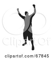 Royalty Free RF Clipart Illustration Of A Black Silhouette Victorious Man On White by Arena Creative