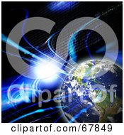 Royalty Free RF Clipart Illustration Of A Binary Earth With A Flare And Fractals On Black