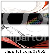Royalty Free RF Clipart Illustration Of A Digital Collage Of Swooshes And Dot Website Banners by Arena Creative