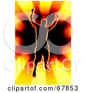 Royalty Free RF Clipart Illustration Of A Fiery Victorious Man Over A Sun Burst by Arena Creative
