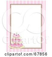 Royalty Free RF Clipart Illustration Of A Pink Striped Cupcake Border With A White Background by Maria Bell