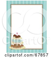 Royalty Free RF Clipart Illustration Of A Blue Striped Cupcake Border With A White Background by Maria Bell