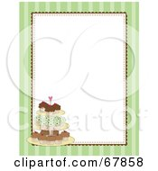 Royalty Free RF Clipart Illustration Of A Green Striped Cupcake Border With A White Background by Maria Bell