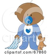Innocent Black Baby Boy With A Teddy Bear Pacifier And Blanket