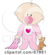 White Baby Girl With A Teddy Bear Pacifier And Blanket