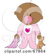 Innocent Black Baby Girl With A Teddy Bear Pacifier And Blanket