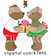 Cute Bear Couple Holding A Gift And Preparing To Smooch Under Mistletoe