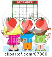 Royalty Free RF Clipart Illustration Of A Group Of Christmas Children Wearing Santa Hats And Looking At A December Calendar