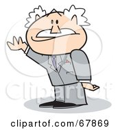 Royalty Free RF Clipart Illustration Of A Bald Old Walt Businessman Holding One Arm Up by Andy Nortnik