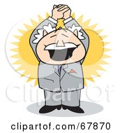 Royalty Free RF Clipart Illustration Of An Excited Bald Old Walt Businessman Holding His Arms Up by Andy Nortnik