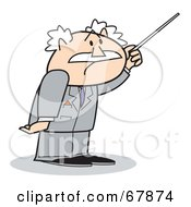 Royalty Free RF Clipart Illustration Of A Bald Old Walt Businessman Using A Pointer by Andy Nortnik