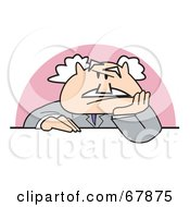 Royalty Free RF Clipart Illustration Of A Bald Old Grouchy Walt Businessman Sitting At A Desk by Andy Nortnik