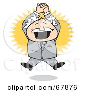 Royalty Free RF Clipart Illustration Of An Excited Bald Old Walt Businessman Clapping And Jumping