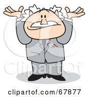 Royalty Free RF Clipart Illustration Of A Bald Old Walt Man In A Suit Shrugging