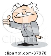 Royalty Free RF Clipart Illustration Of A Bald Old Walt Businessman Giving The Thumbs Up by Andy Nortnik