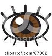 Royalty Free RF Clipart Illustration Of A Sparkling Brown Eye With Lashes