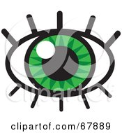 Royalty Free RF Clipart Illustration Of A Sparkling Green Eye With Lashes
