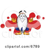 Clipart Picture Of A Blimp Mascot Cartoon Character With A Red Paint Splatter by Toons4Biz