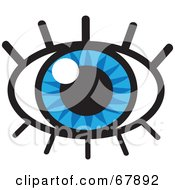Royalty Free RF Clipart Illustration Of A Sparkling Blue Eye With Lashes by Rosie Piter