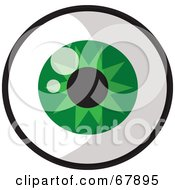 Royalty Free RF Clipart Illustration Of A Sparkling Round Green Eye